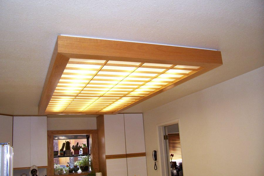 Wooden fluorescent light fixture fixtures design ideas