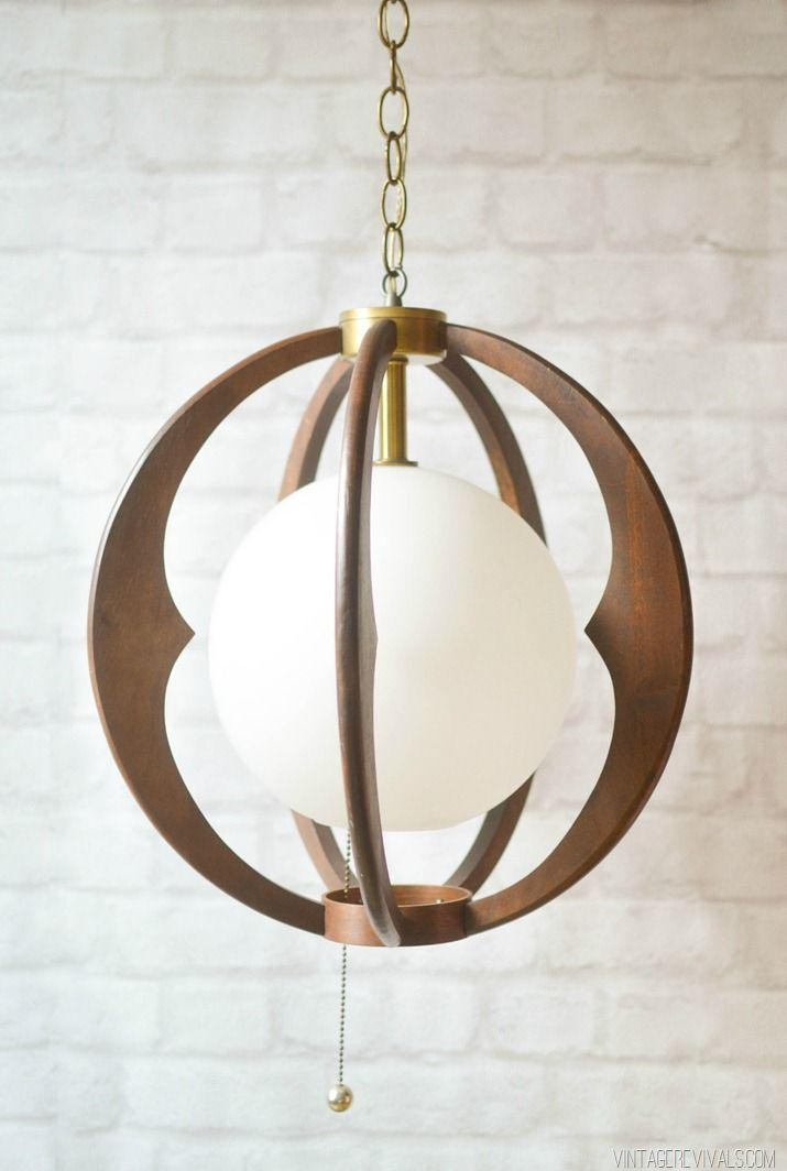 Wooden Sphere Light Fixture