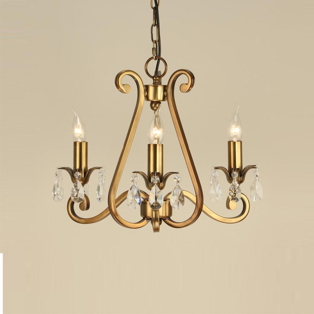 3 Light Antique Brass Chandelier
