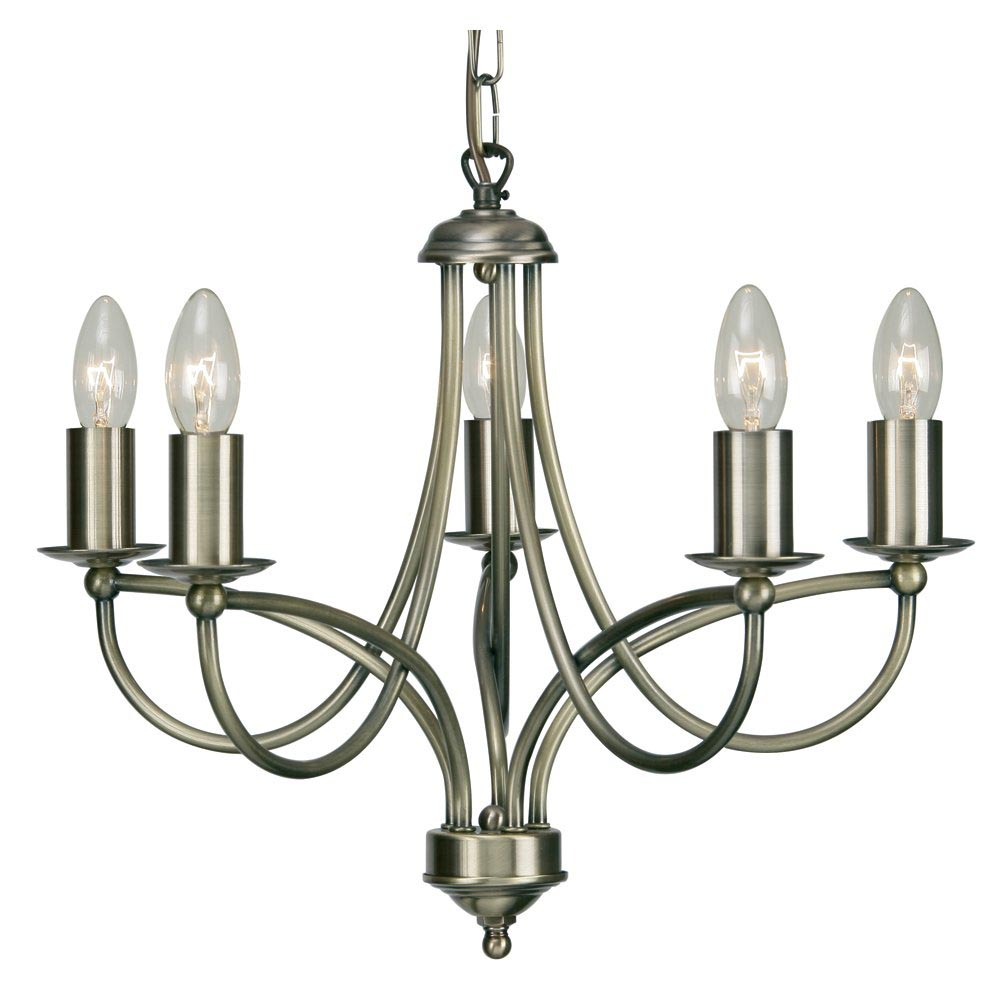 Antique Brass 5 Light Chandelier