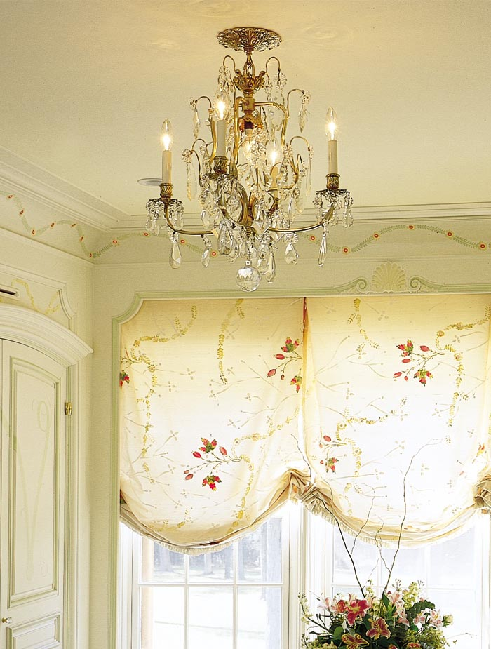 Antique Crystal and Brass Chandelier