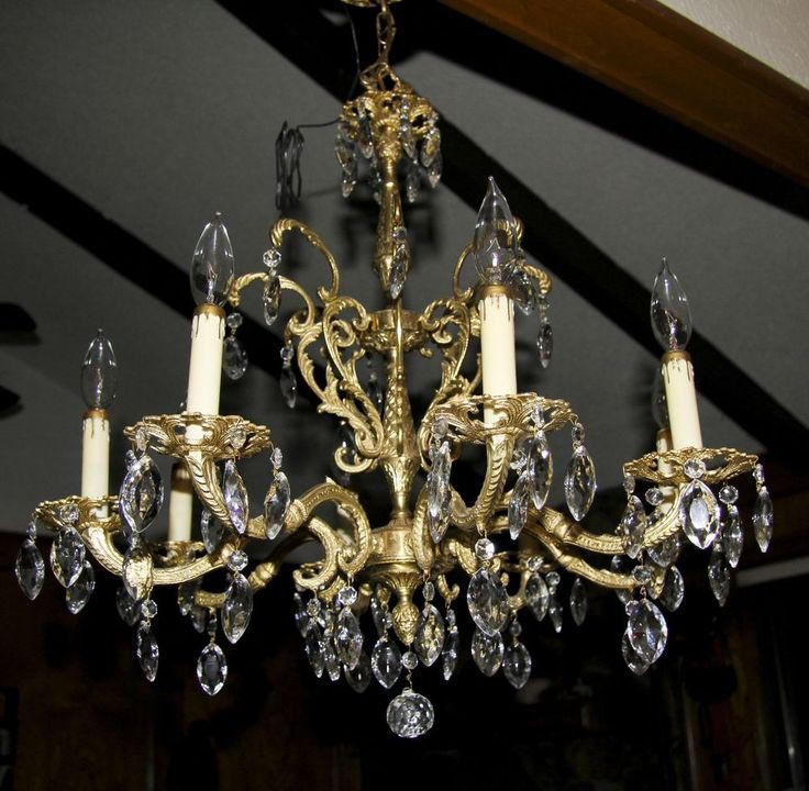 Antique Spanish Brass Chandelier