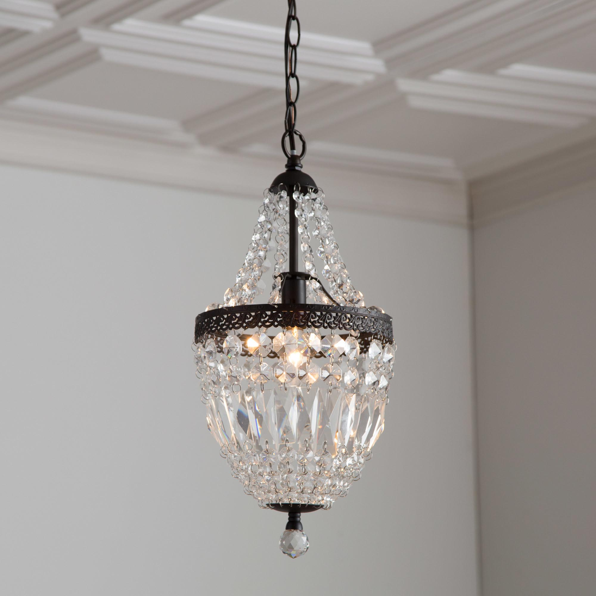 Bronze Mini Chandelier With Crystals Light Fixtures Design Ideas