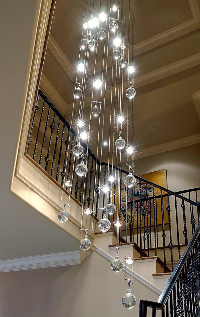 Cascading Glass Bubble Chandelier
