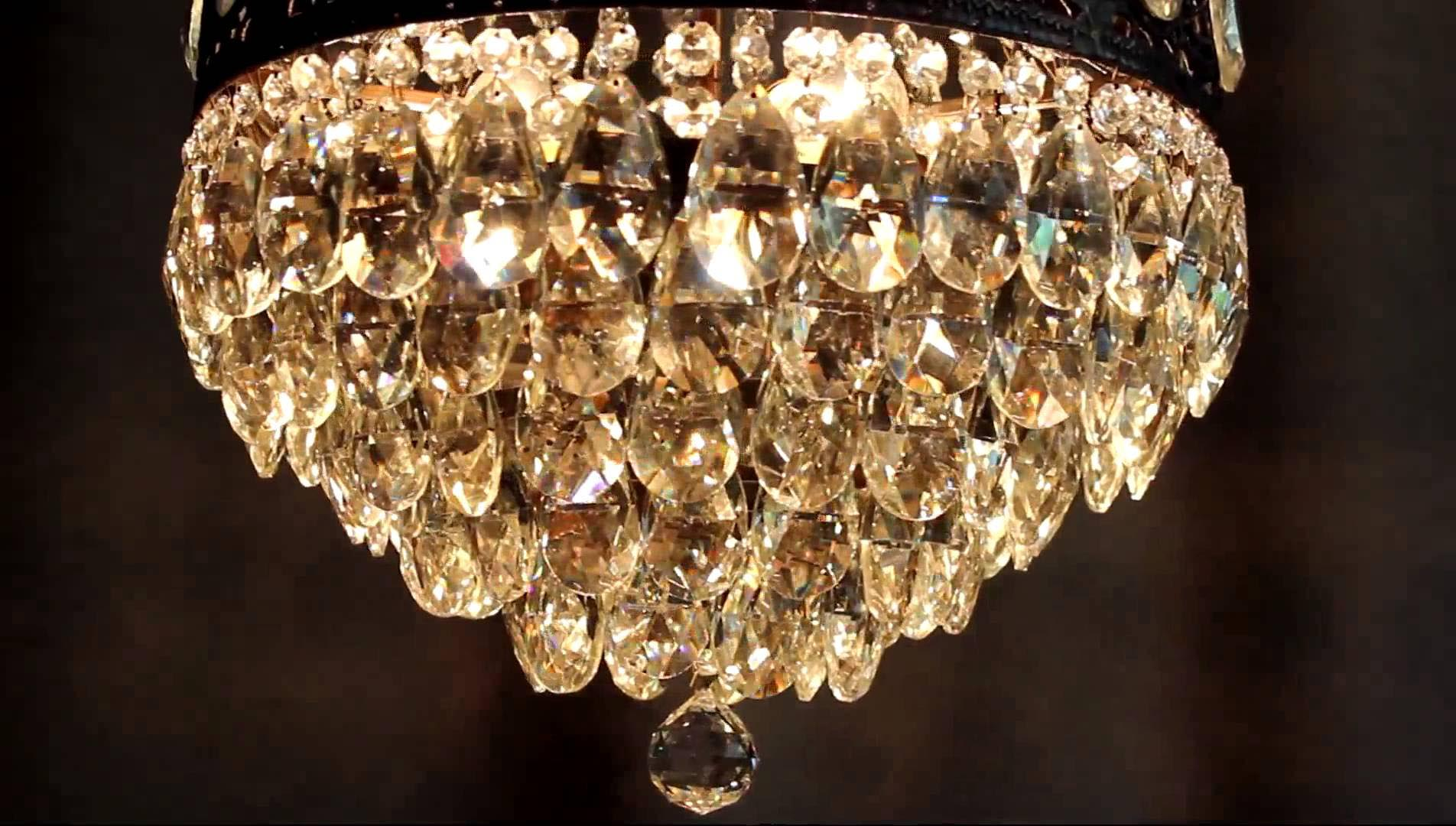 Crystal Chandelier Antique Brass