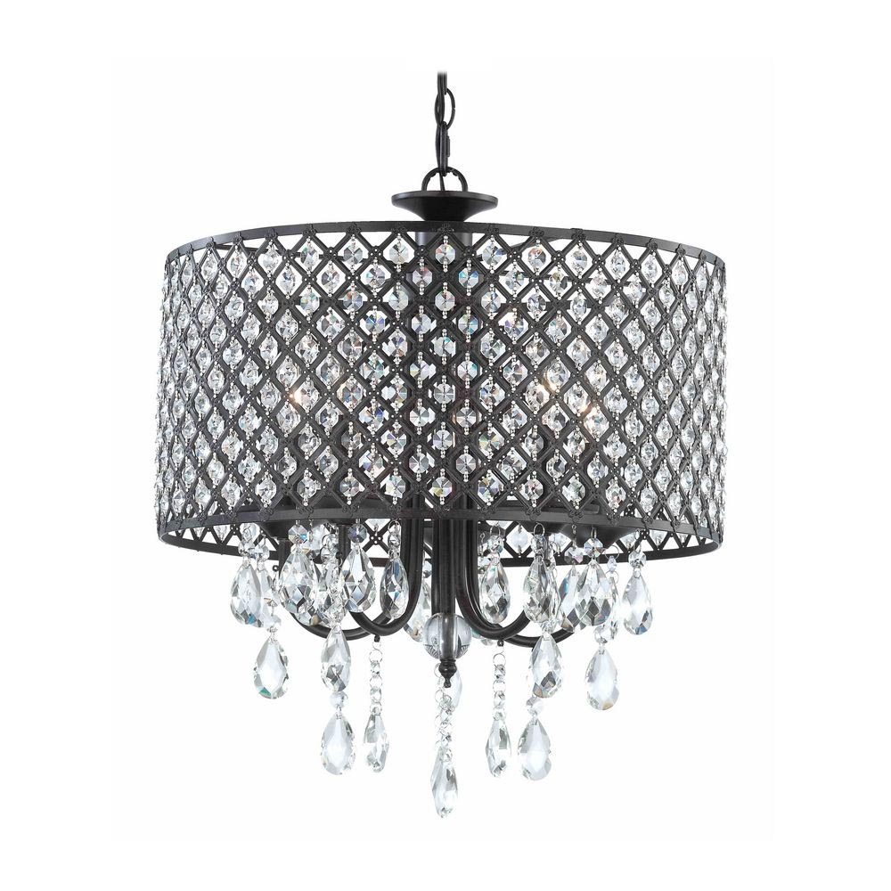 DIY Drum Shade Chandelier with Crystals