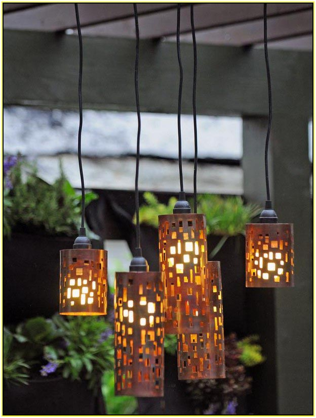 DIY Outdoor Candle Chandelier