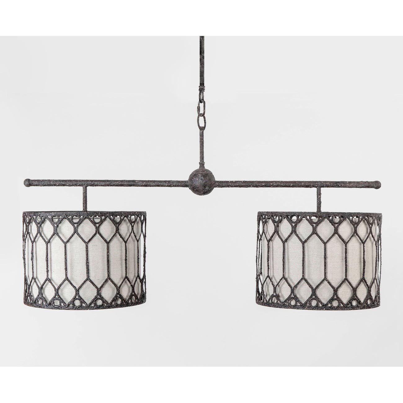 Double Drum Shade Chandelier