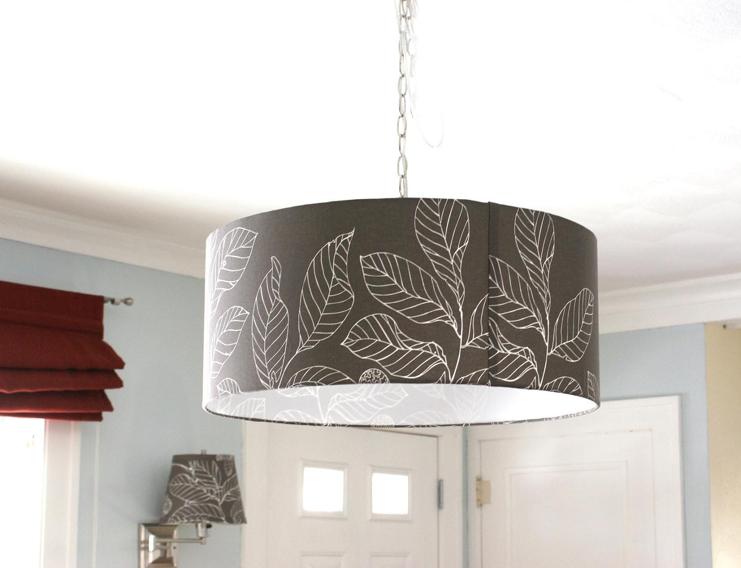 Drum Light Fixture with Crystals