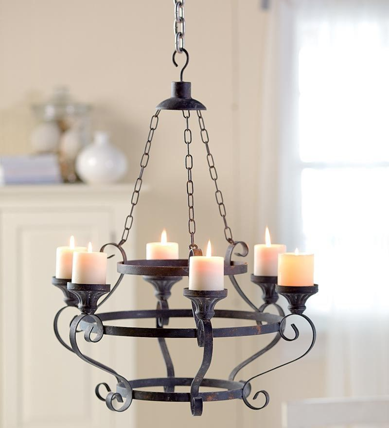 Electric Pillar Candle Chandelier