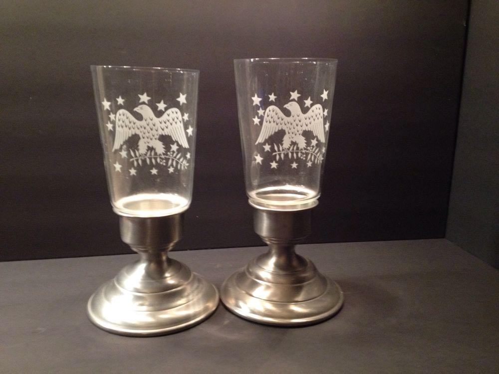 Etched Glass Hurricane Candle Holders