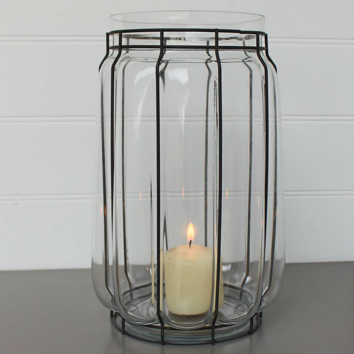 Iron and Glass Hurricane Candle Holder