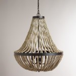 Large Wood Bead Chandelier