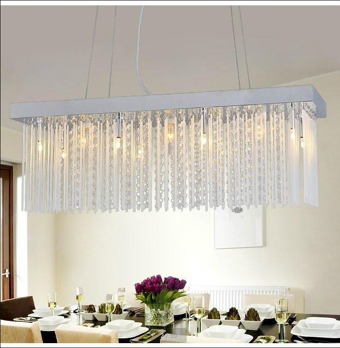 Modern rectangular crystal chandelier light fixtures for Rectangular dining room light