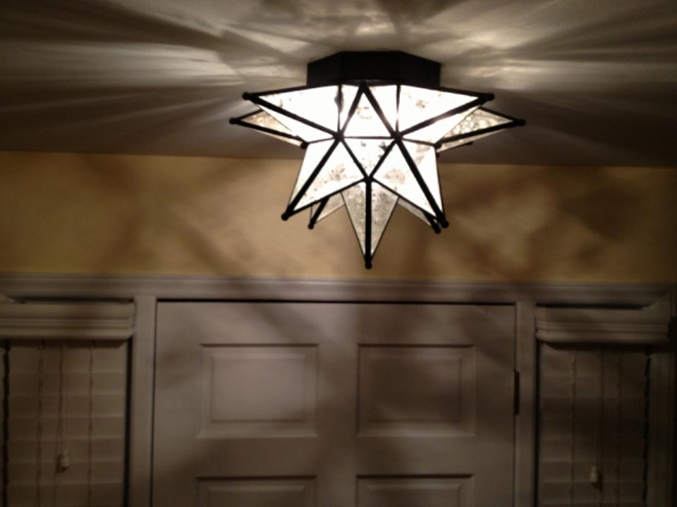 Decorative Star Ceiling Light Semi Flush Bathroom Fixture: Moroccan Star Flush Mount Ceiling Light Fixture