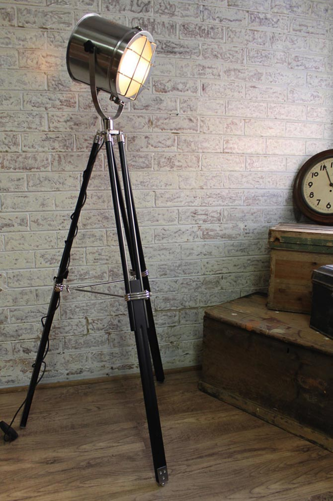 Nautical Signal Light Tripod Floor Lamp