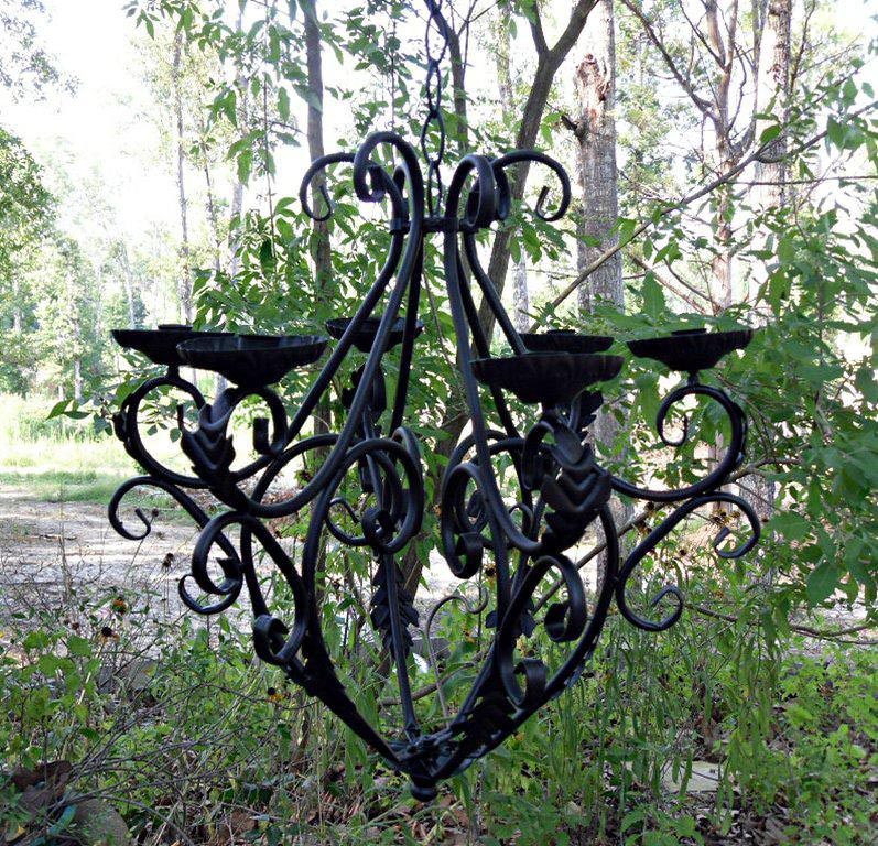 Outdoor Iron Candle Chandelier
