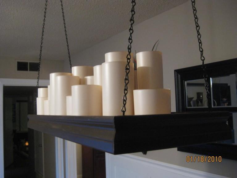 Pillar Candle Rectangular Chandelier Medium