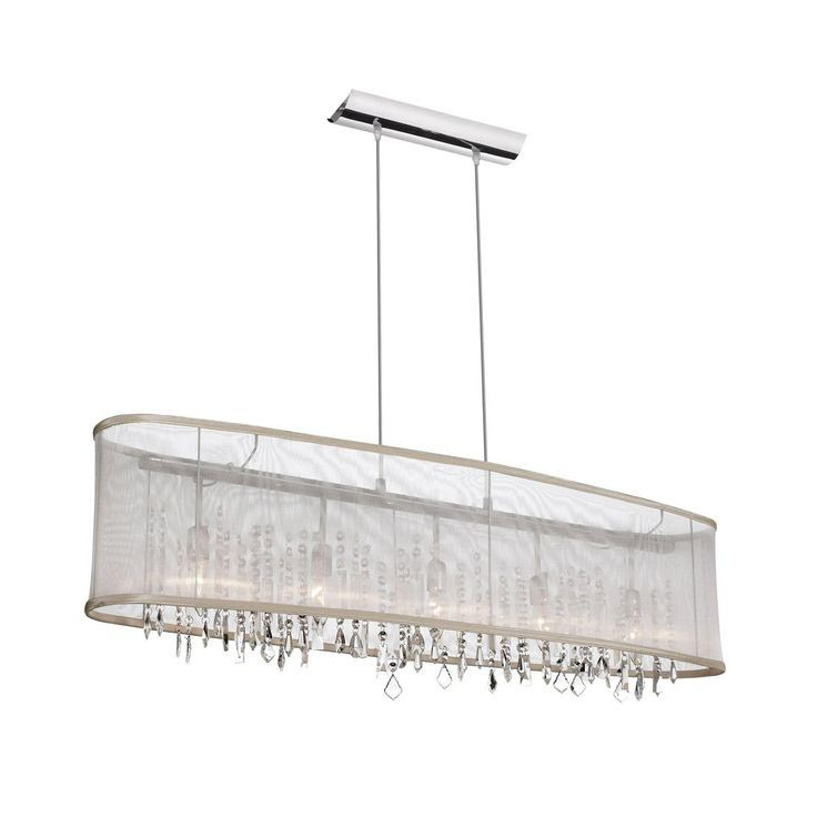 Rectangular Black Chrome 5 Light Crystal Chandelier