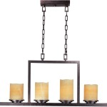 Rectangular Bronze Pillar Candle Chandelier