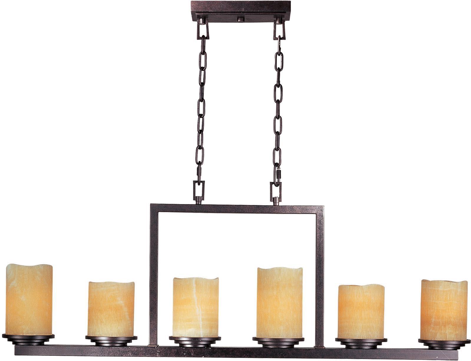 Rectangular Bronze Pillar Candle Chandelier