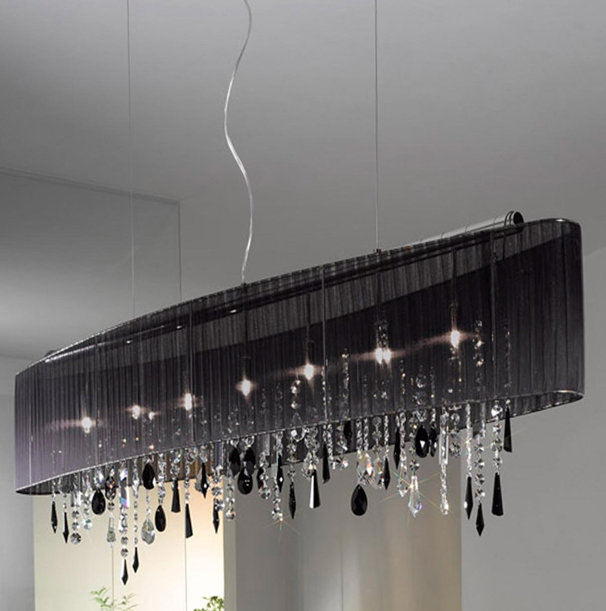 Rectangular Crystal Chandelier Black Shade