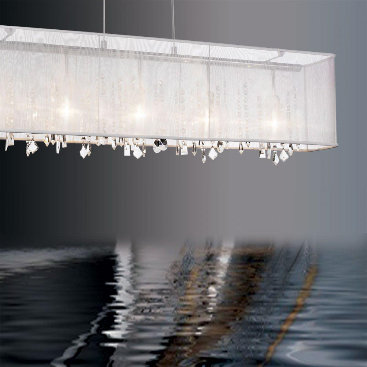 Rectangular Crystal Chandelier Organza Shade