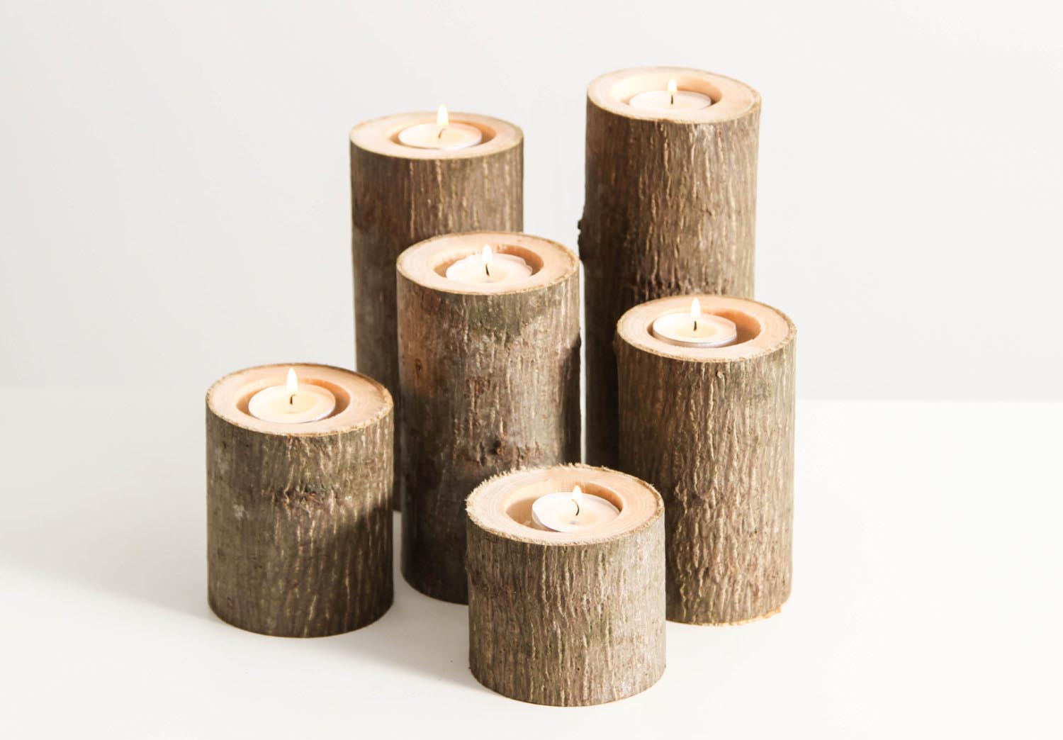 Rustic Hurricane Candle Holders
