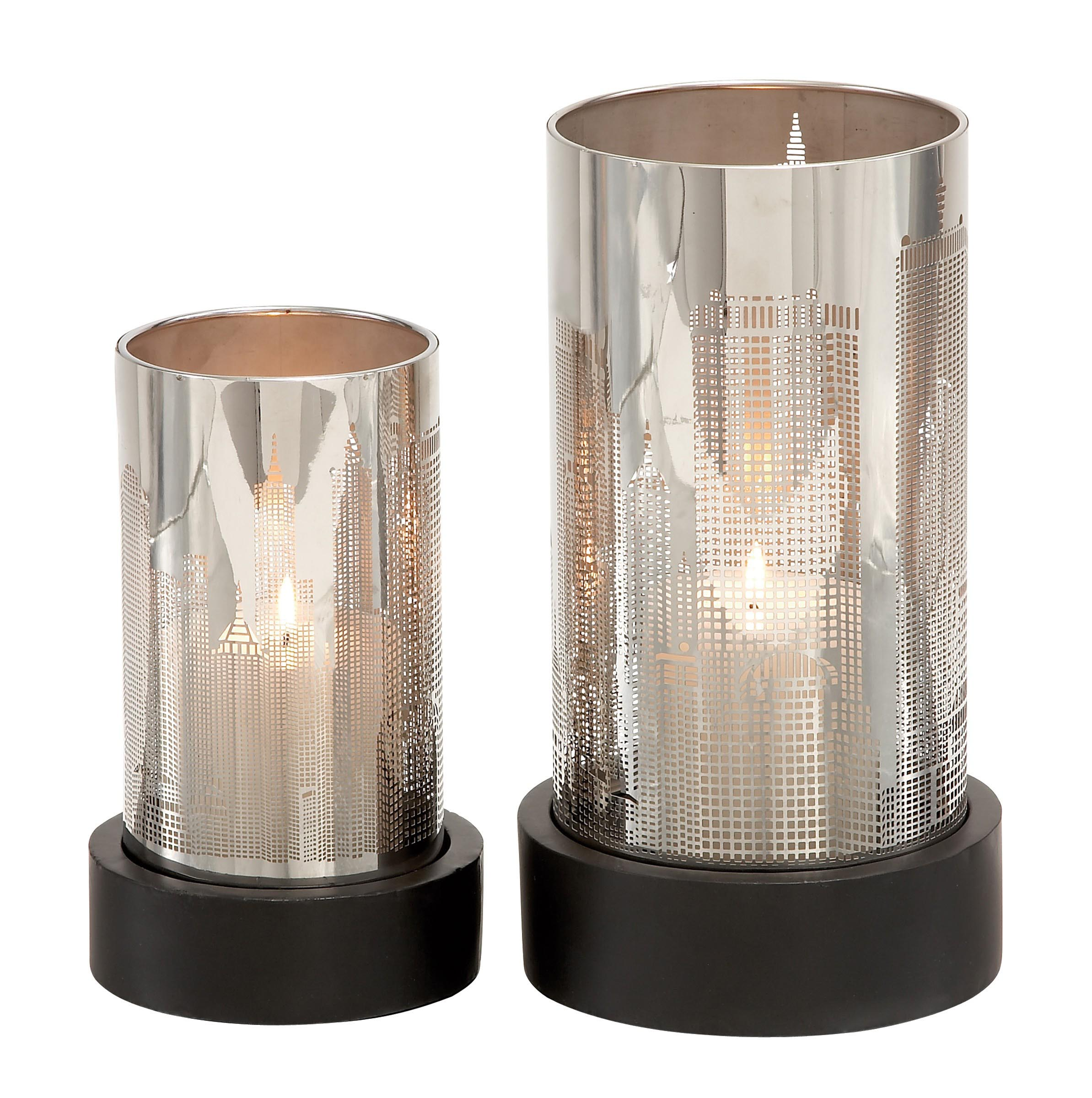 Silver Hurricane Candle Holders