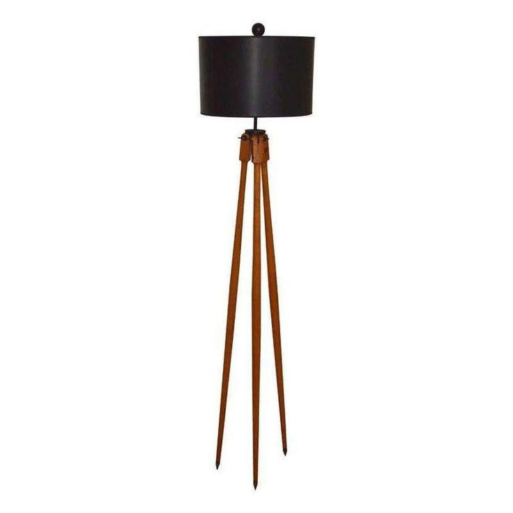Surveyor tripod floor lamp light fixtures design ideas for Surveyors floor lamp wood