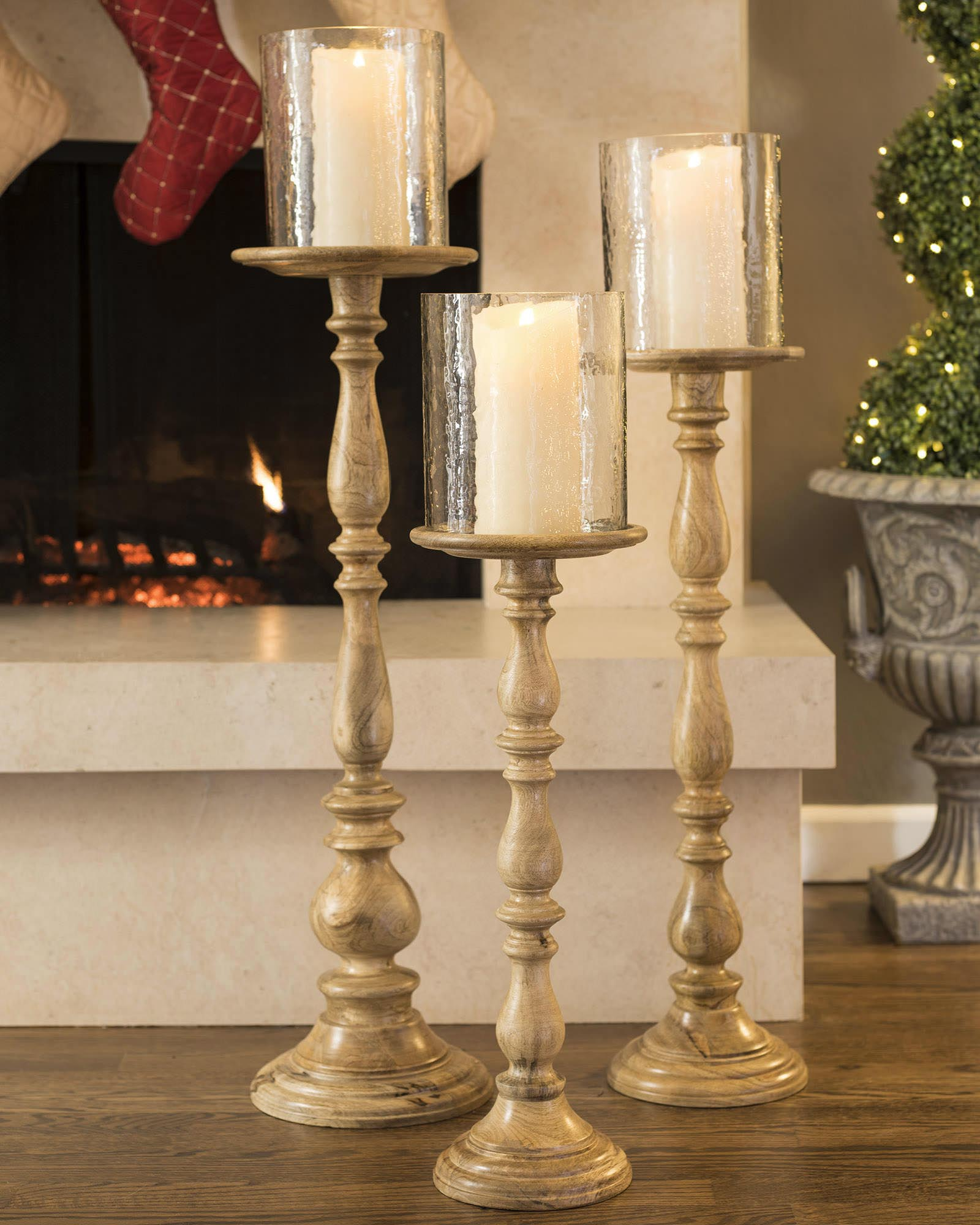 Tall Wooden Pillar Candle Holders