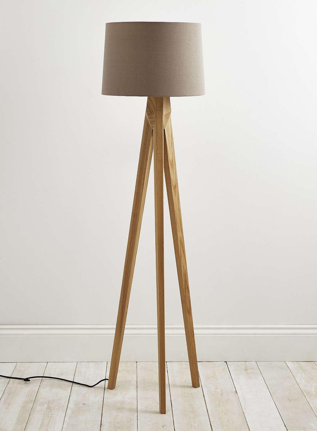 Tripod floor lamp wooden legs light fixtures design ideas for Make wooden floor lamp