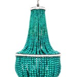 Turquoise Wood Bead Chandelier