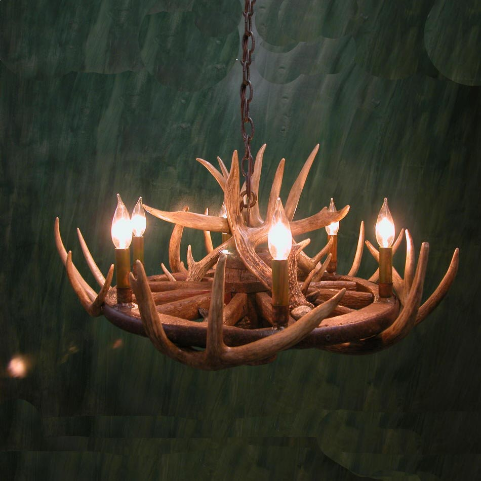 Wagon Wheel Deer Antler Chandelier