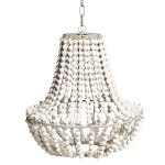 White Wood Bead Chandelier