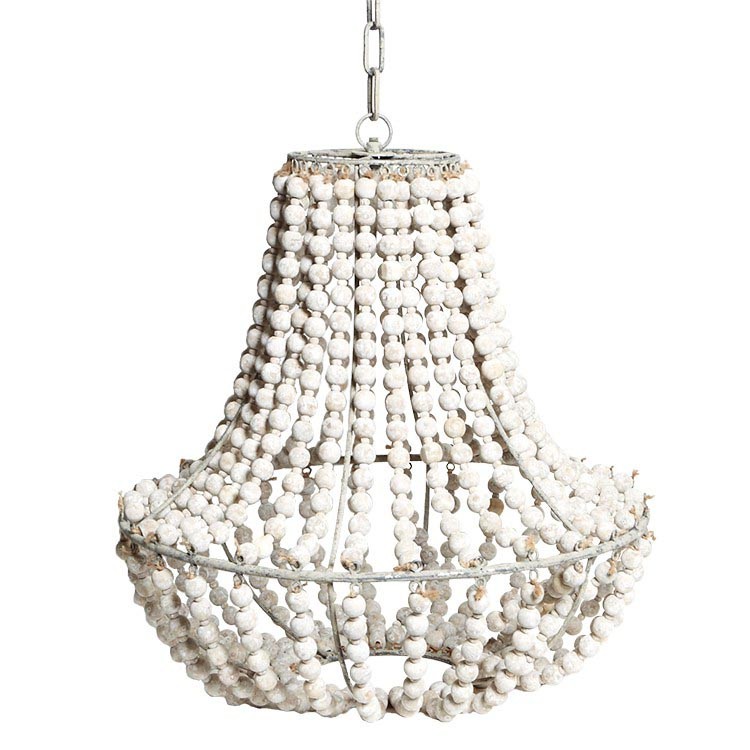 White wood bead chandelier light fixtures design ideas for Wood pendant chandelier