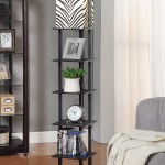 Wooden Floor Lamp with Shelves