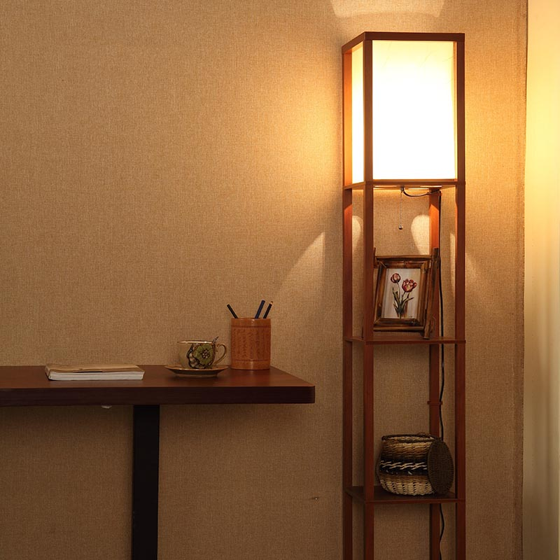 Wooden floor lamps with shelves light fixtures design ideas for Floor lamp with shelves