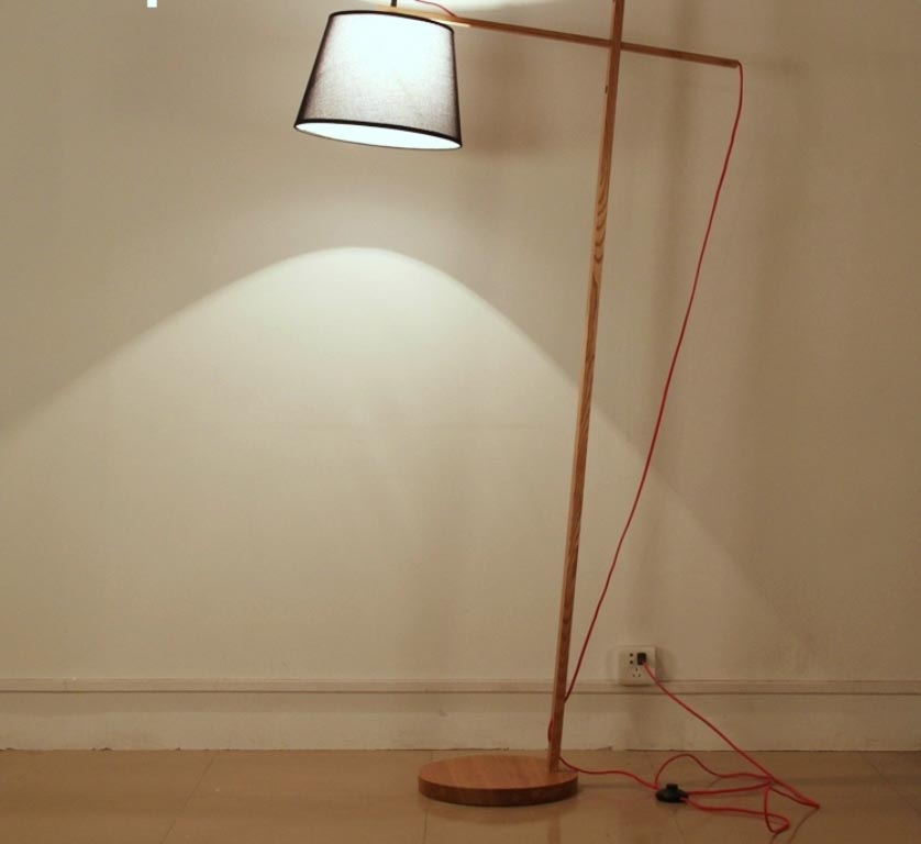 Wooden Tripod Floor Lamp with Cream Shade