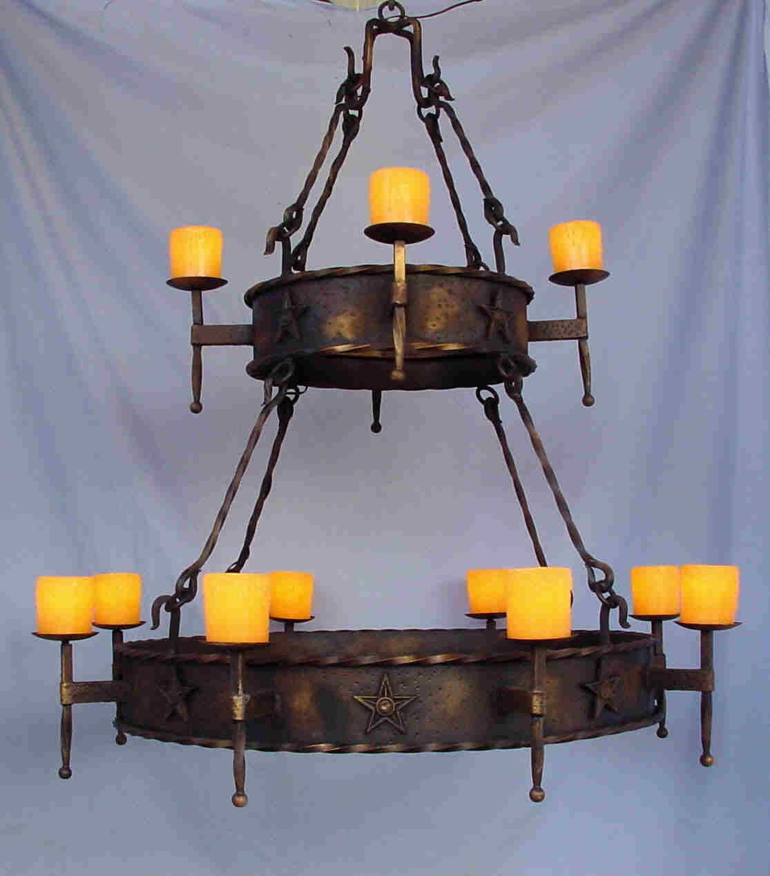 Wrought Iron Outdoor Candle Chandelier