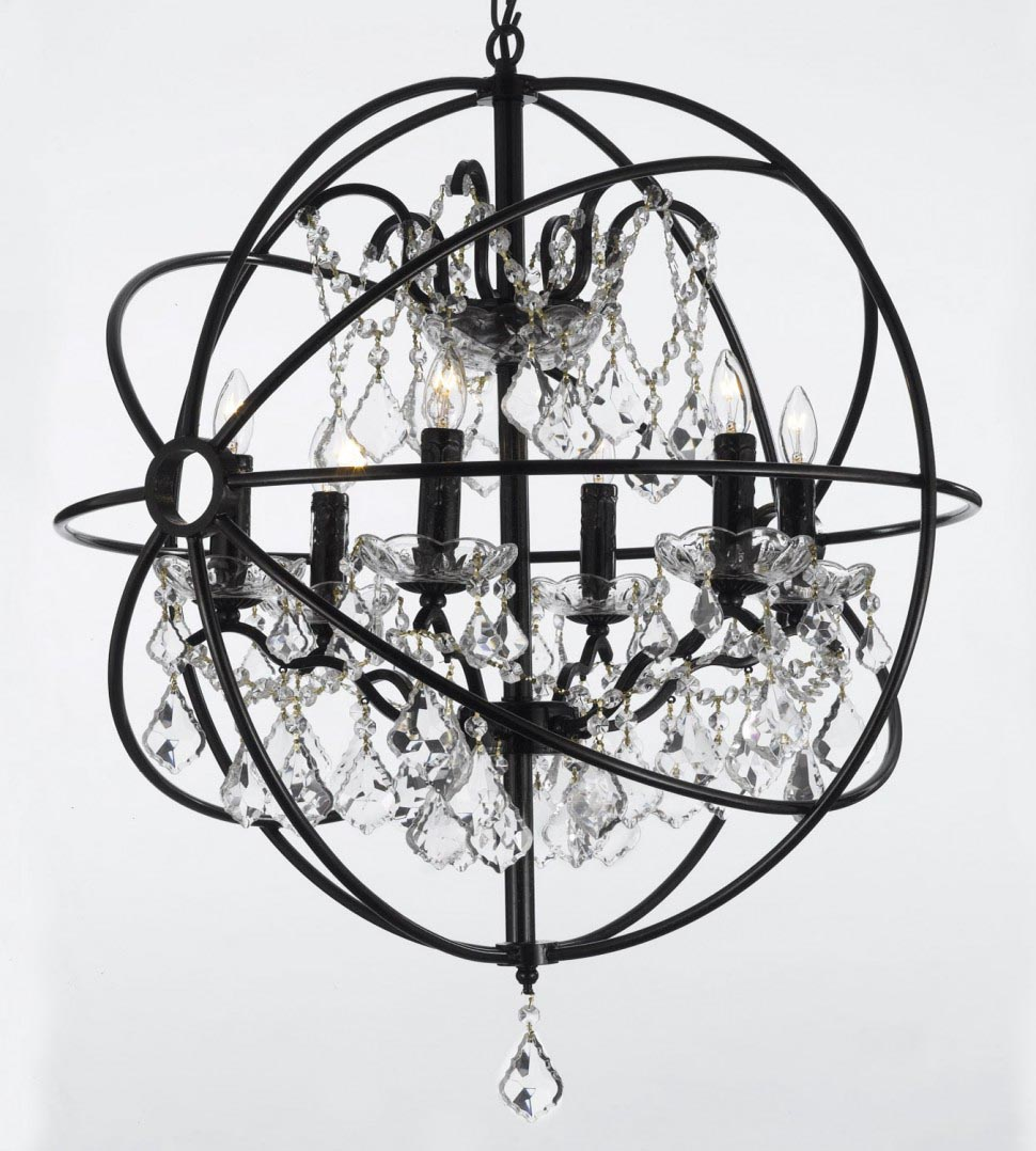 Wrought Iron Outdoor Chandelier with Candles