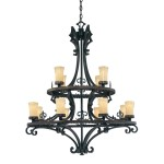 Wrought Iron Pillar Candle Chandelier